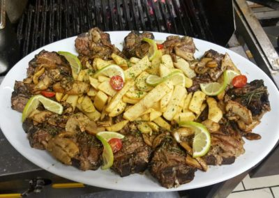 Mixed grill with lamb chops and chips